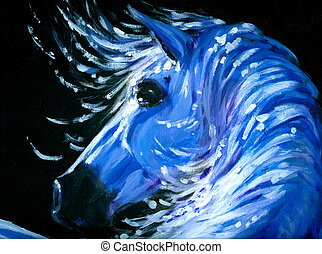 Horse - Portrait of blue horse acrylic painted.Picture I...