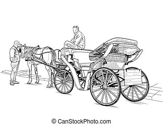 Horse drawn carriage - Drawing carriage with a horse and two...