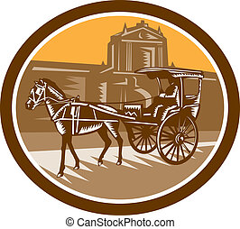 Horse-Drawn Carriage Intramuros Woodcut Retro
