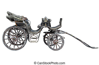Old weathered horse drawn carriage isolated on white background