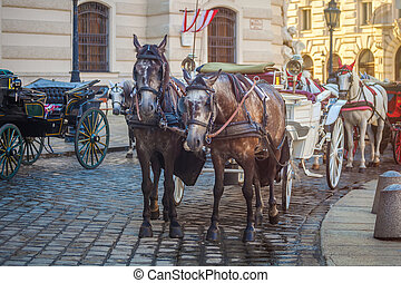 Horse-drawn carriage or Fiaker, popular tourist attraction,...