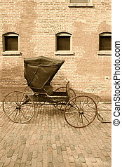 Horse-drawn carriage - An old horse-drawn carriage done in...
