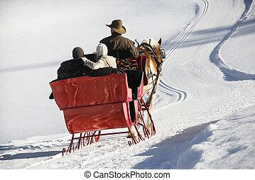 horse-drawn, sleigh, ride.