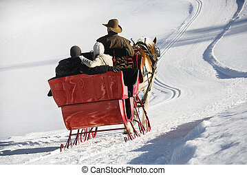 Horse-drawn sleigh ride. - Rear view of Caucasian man and...