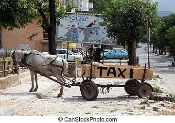 Horse-drawn taxi, Debar, Macedonia - Horse-drawn taxi in...