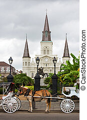 Horse-driven carriages on Jackson square with St Louis cathedral, New Orleans