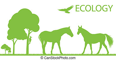 Horse ecology vector background concept landscape