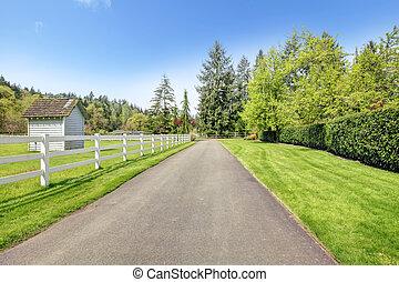 Horse farm drive way