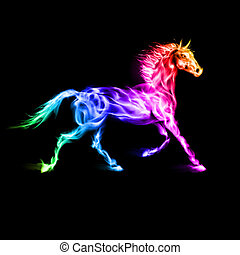 horse., farverig, ild