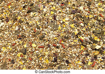 Detailed view of horse feed mix