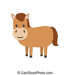 Horse flat character. Cute farm animal. Vector cartoon illustration isolated on white