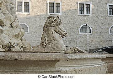 horse fountain, Residenzplatz, Salzburg, Austria