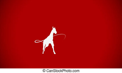 White horse silhouette on red background