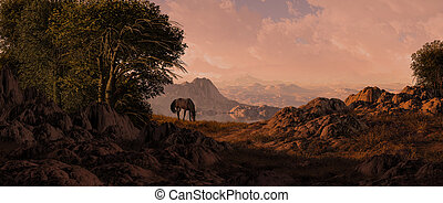 Horse Grazing In The Southwest
