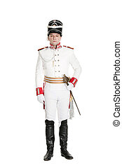 Horse Guards officer marching on the parade ground.