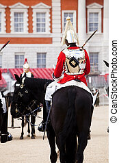 Horse guards - Two horse guards in front each other.