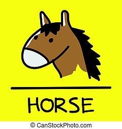 horse hand-drawn style, Vector illustration.