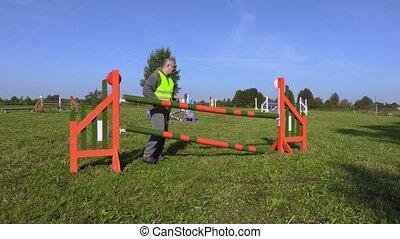 Horse handler arranged hurdle