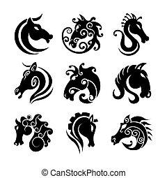 Horse head art templates, heraldic or fairy tattoo symbols -...