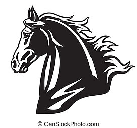 horse head, side view black and white isolated image