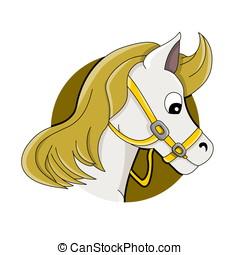 Horse head cartoon - Illustration of horse or pony head,...