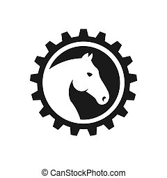 Creative Horse Head Gear Logo Vector Illustration