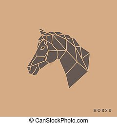 Horse head geometric lines silhouette isolated on light...