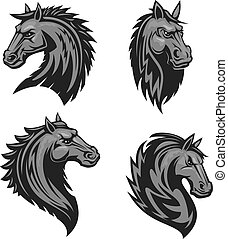 Horse head heraldic emblem - Horse head emblem with thorny...