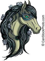 Horse head - Illustration head of horse girl in carnival ...