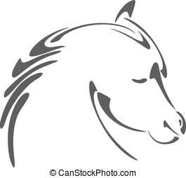 Horse head illustration in calligraphy style