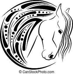 Horse head in black