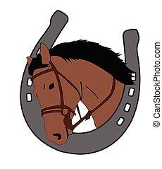 horse head in horseshoe, logo design