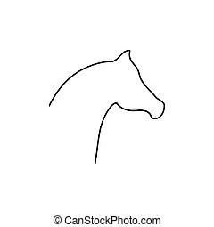 Horse head line icon.
