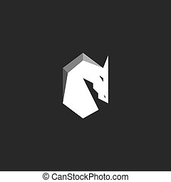 Horse Head logo, abstract figure of a stallion with a mane, silhouette of a mustang black and white graphic illustration