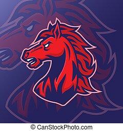 horse head mascot logo vector design template