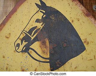 Horse Head Metal Sign