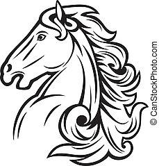 horse head (mustang head, beautiful horse)