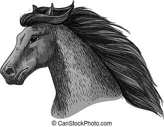 Horse head of running mustang vector sketch