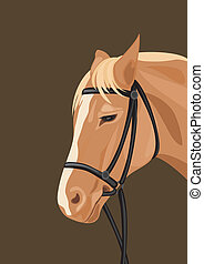 Horse head on the dark background. Vector illustration