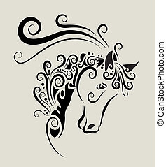 Horse head ornament - Decorative horse head with curl...