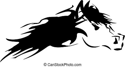 Horse head silhouette isolated on white background