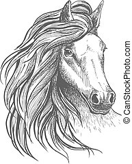 Horse head sketch with wavy mane - Sketch of horse head with...