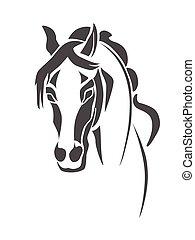 Horse head stencil - Stencil horse's head on a white...