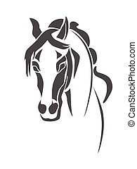 Horse head stencil - Stencil horse's head on a white...
