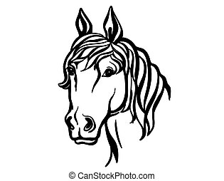 Horse head. Vector silhouette of printable file. Farm animal isolated on white.