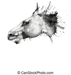 Horse head watercolor grunge illustration