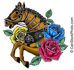 Horse head with flowers vector illustration image