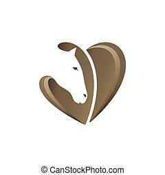Horse head with heart shape, vector illustration