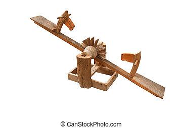 horse head wooden toy for children