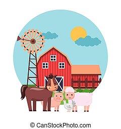 horse hen sheep farm fresh